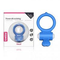 Эрекционное виброкольцо Power Heart clit cockring (голубой), фото 1