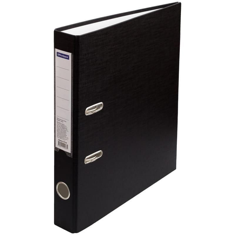 Папка-регистратор 50мм, черная с карманом на корешке