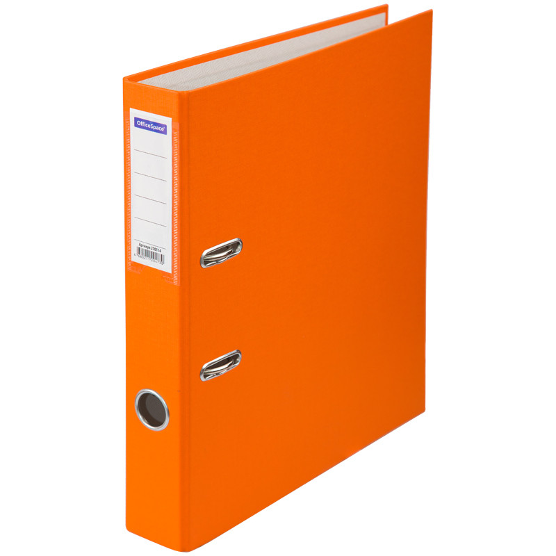 Папка-регистратор 50 мм, оранжевая с карманом на корешке