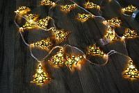 Гирлянда золотые елочки, теплый, 2м