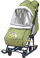 Санки - коляска Наши Детки 2 Летчик оливковый (Ника, Россия)