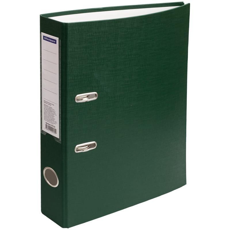 Папка-регистратор 50 мм, зеленая с этикеткой на корешке
