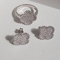 Шикарный серебряный набор: Кольцо и Серьги Van Cleef