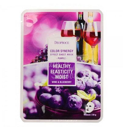 Тканевая маска для лица с экстрактом черники и красного винограда Deoproce Healthy Elasticity Moist - Wine & Blueberry Mask, фото 2