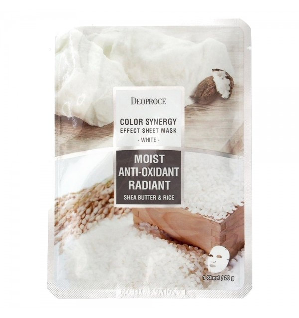 Тканевая маска на основе рисовой воды и экстракта масла ши Deoproce Moist Anti-Oxidant Radiant - Shea Butter & Rice