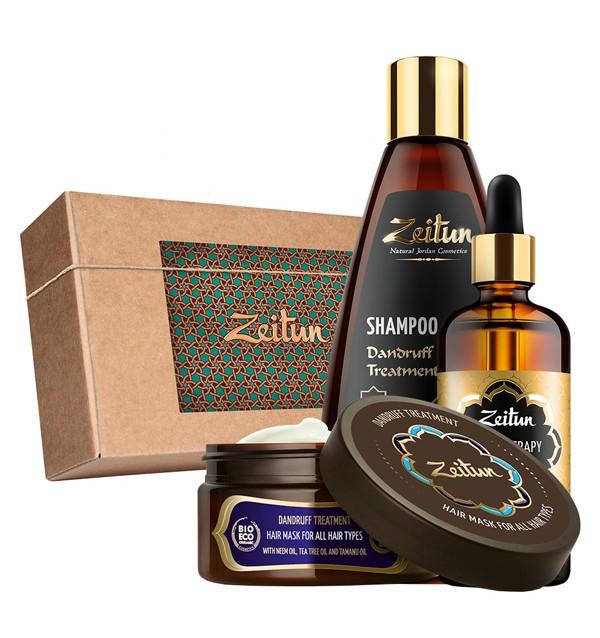Подарочный набор «Натуральный комплекс против перхоти и зуда» шампунь, маска и легкосмываемое масло Zeitun (Иордания)