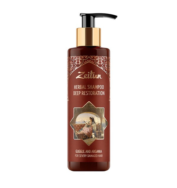 Глубоко восстанавливающий фито-шампунь с арганой и миртом для сильно поврежденных волос Zeitun (100 мл, Иордания)