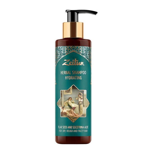 Увлажняющий фито-шампунь для сухих, жестких и кудрявых волос со льном и сокотрийским алоэ Zeitun (200 мл, Иордания)