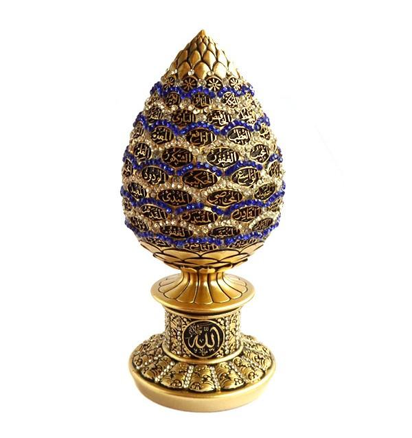 Сувенир в виде яйца с 99 именами Аллаха (золотистый)