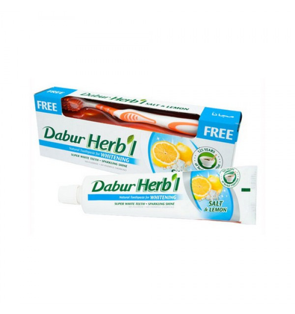 Зубная паста Dabur herbal whitening salt & lemon + зубная щетка