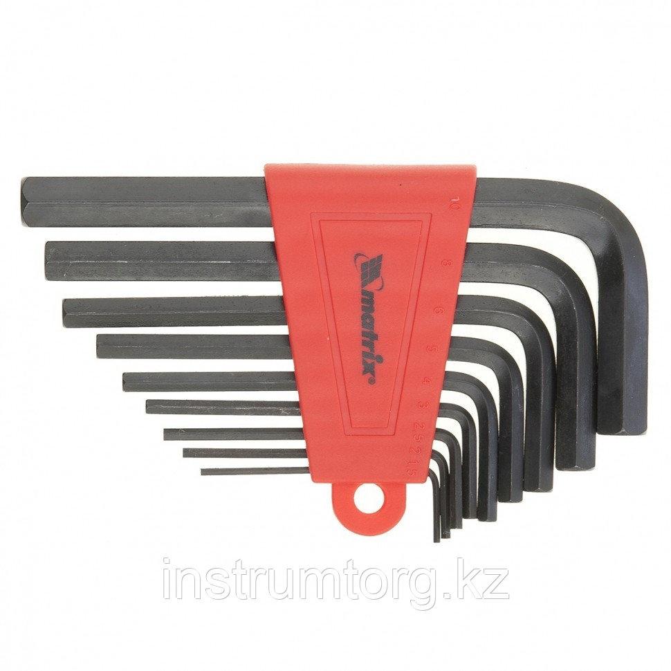 Набор ключей имбусовых HEX, 2,0–12 мм, CrV, 9 шт., оксидированные, удлиненные// Matrix