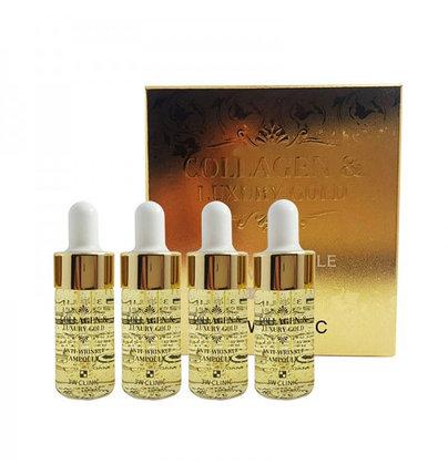 Ампулы от морщин с коллагеном и золотом 3W Clinic Collagen & Luxury Gold Anti-Wrinkle Ampoule (52 мл), фото 2