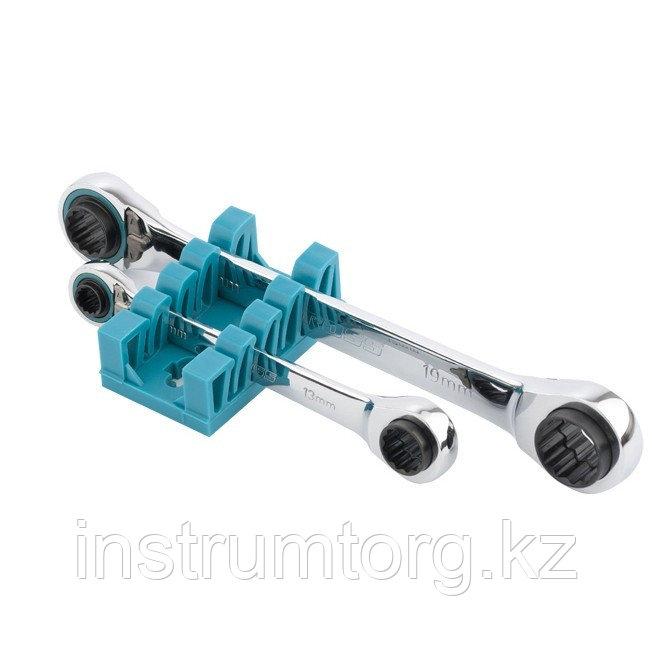Набор ключей накидных с трещоткой, 8 - 19 мм, 2 шт., многоразмерные, реверсивные, CrV// Gross