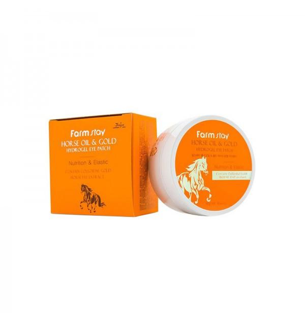 Гидрогелевые патчи с золотом и конским жиром Farm Stay Horse Oil and Gold Hydrogel Eye Patch (90 г)