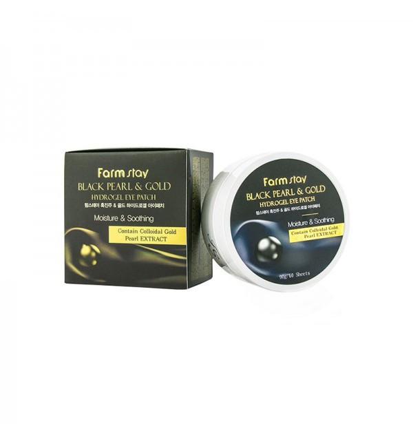Гидрогелевые патчи с золотом и черным жемчугом Farm Stay Black Pearl & Gold Hydrogel Eye Patch (90 г)