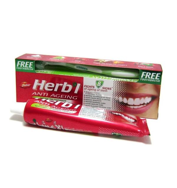 Зубная паста (антивозрастная) Dabur Herbal Anti Ageing + зубная щетка