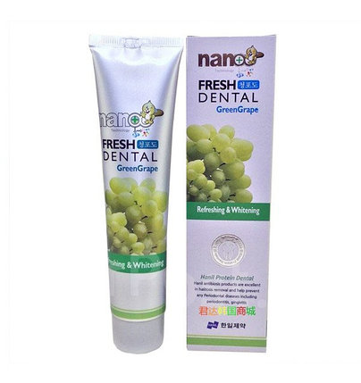 Зубная паста с зеленым виноградом Hanil Nano Technology Fresh Dental Green Grape (160 г), фото 2