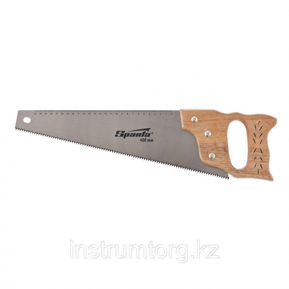 Ножовка по дереву, 400 мм, 7-8 ТРI, каленый зуб, линейка, деревянная рукоятка// Sparta