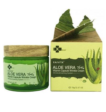 Крем для лица с алоэ вера Xaivita Aloe Vera 76% Vitamin Capsule Wrinkle Cream (70 г), фото 2