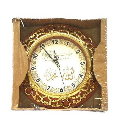 Круглые часы с надписями Аллах и Мухаммад (коричневые), фото 2