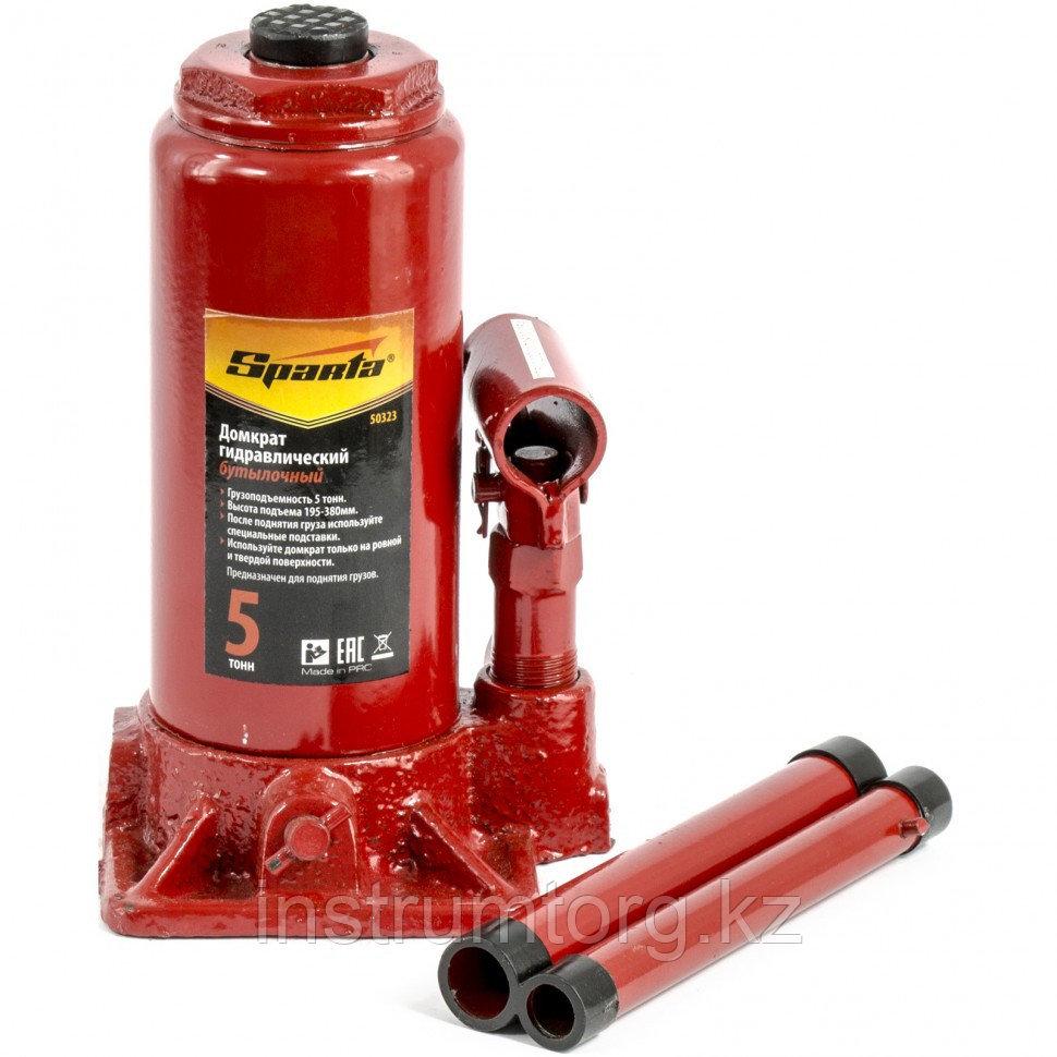 Домкрат гидравлический бутылочный, 5 т, h подъема 195-380 мм// SPARTA