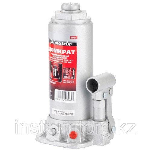 Домкрат гидравлический бутылочный, 8 т, h подъема 230–457 мм// Matrix