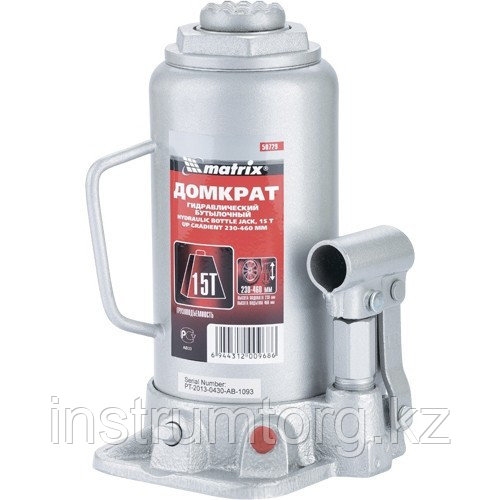 Домкрат гидравлический бутылочный, 15 т, h подъема 230–460 мм// Matrix