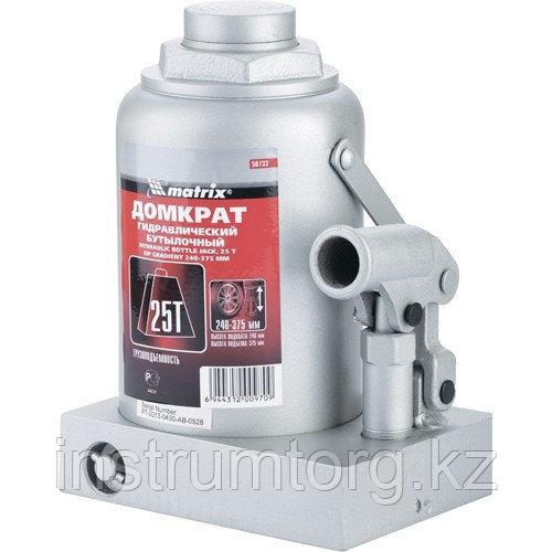 Домкрат гидравлический бутылочный, 25 т, h подъема 240–375 мм// MATRIX MASTER