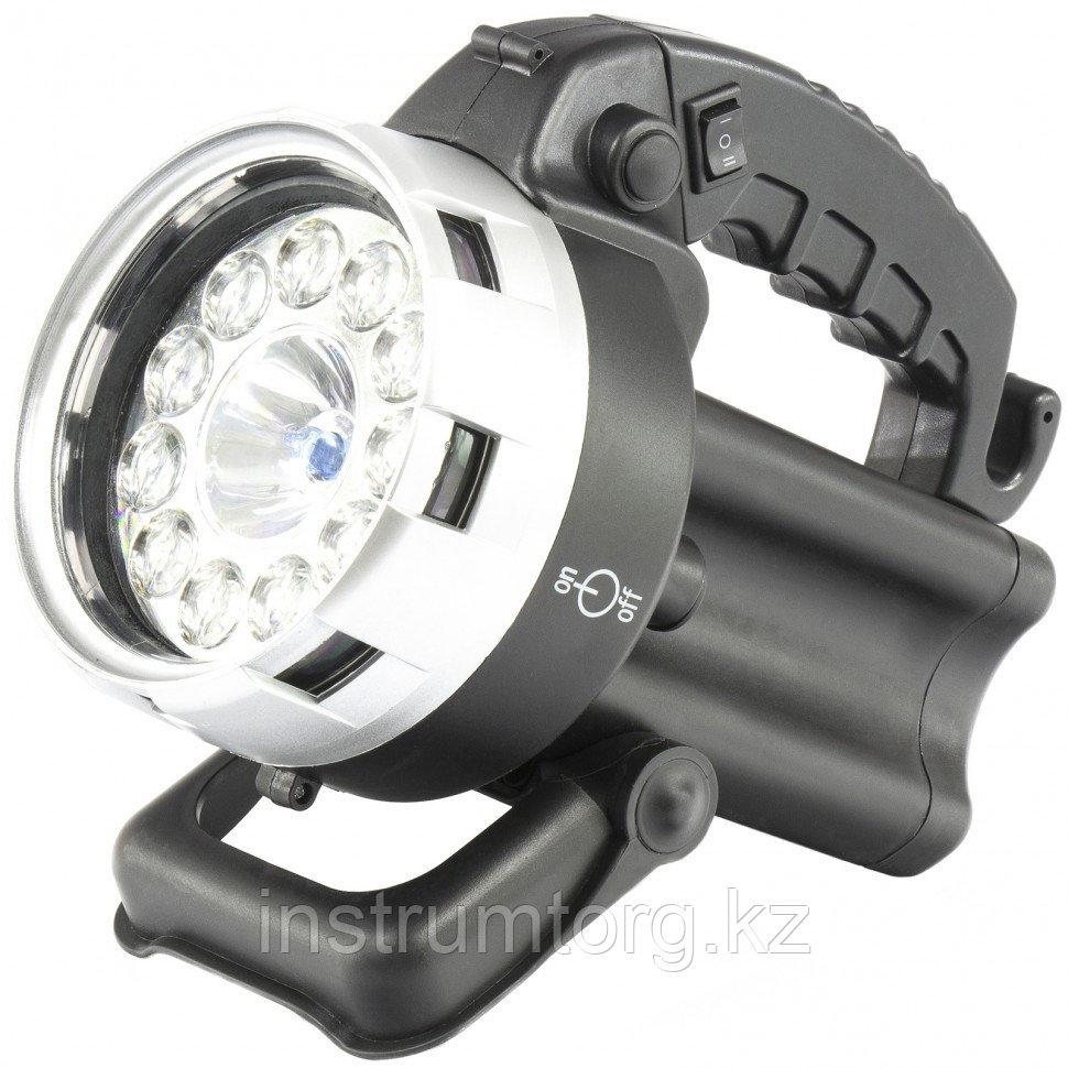 Фонарь поисковый, аккумуляторный, галоген 25 Вт, 11 LED// Stern