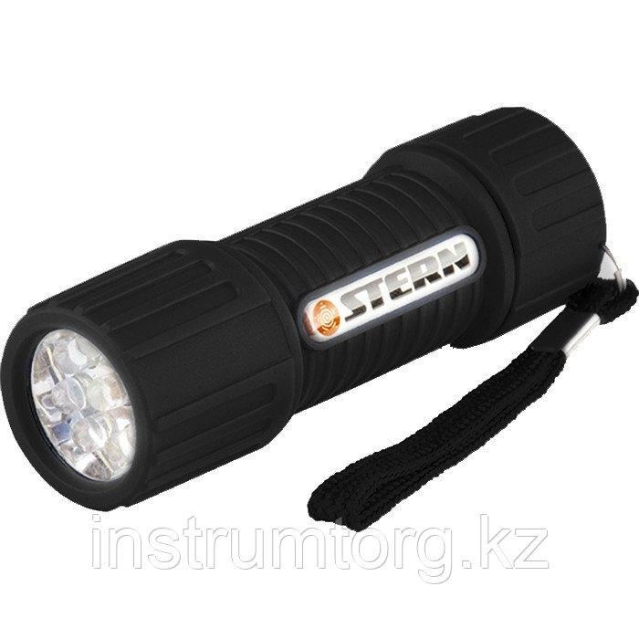Фонарик светодиодный, чёрный корпус с мягким покрытием, 9Led, 3хААА// Stern