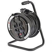 Удлинитель силовой на кабельной катушке с предохранителем, 3*1,5 мм*25м, 4 розетки с крышкой, 16A, STERN