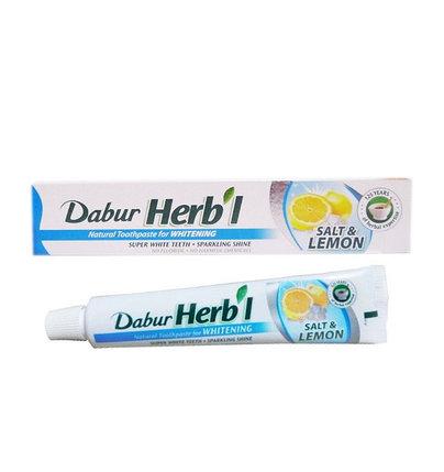 Отбеливающая зубная паста Dabur Herbal Salt & Lemon, фото 2