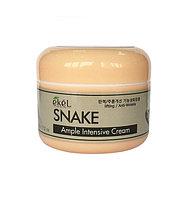 Отбеливающий и от морщин крем для лица со змеиным маслом Ekel Snake Ample Intensive Cream (100 г)