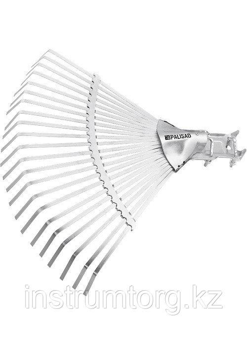 Грабли веерные стальные, 380 мм, 22 плоских зуба, регулируемая тулейка, без черенка// Palisad