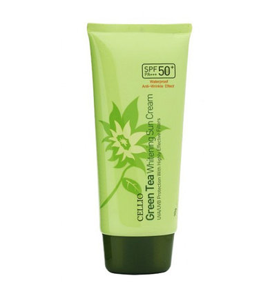 Солнцезащитный крем с зеленым чаем Cellio Green Tea Whitening Sun Cream SPF50+/PA++++ (70 мл), фото 2