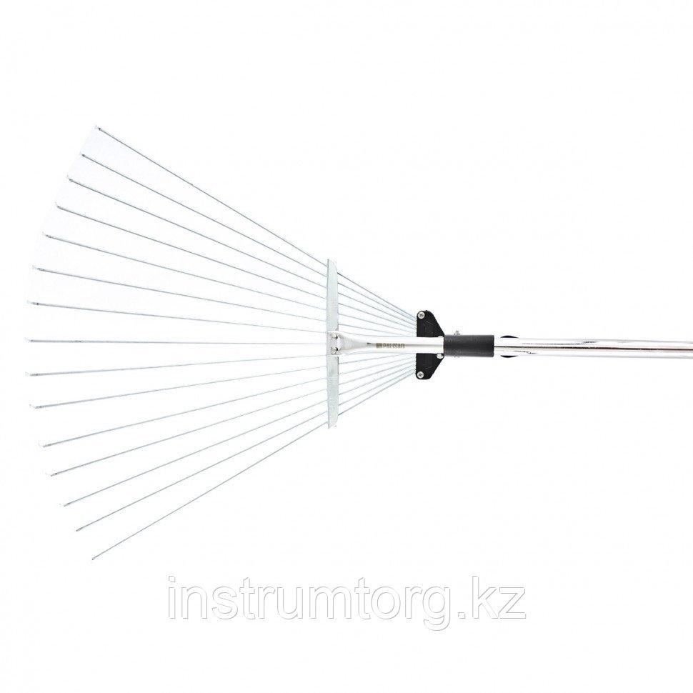 Грабли веерные стальные, 155-520х1200-1550 мм , 15 зубьев, раздвижные, стальной черенок// Palisad