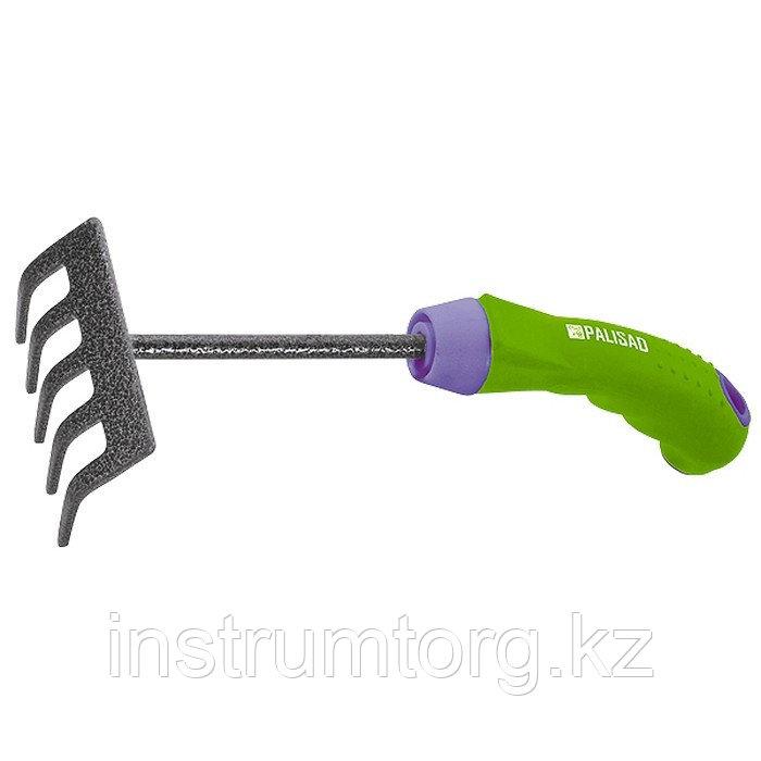 Грабли 5-зубые, 90х265 мм, стальные, обрезиненная эргономичная рукоятка, ERA// Palisad