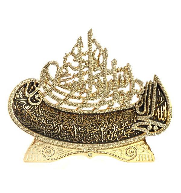 Сувенир в виде корабля с арабской вязью (золотистый)
