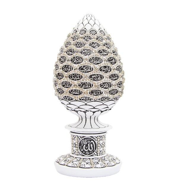 Сувенир в форме яйца с 99 именами Аллаха и белыми стразами (белый)