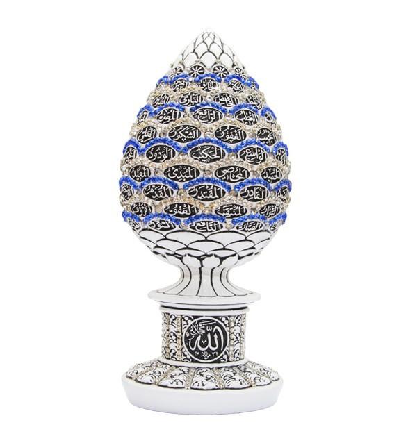 Сувенир в форме яйца с 99 именами Аллаха и синими и белыми стразами (белый)