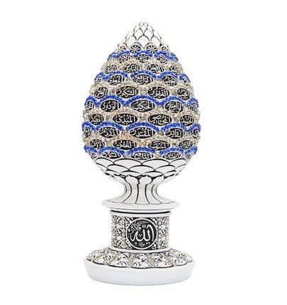 Сувенир в форме яйца с 99 именами Аллаха и синими и белыми стразами (белый), фото 2