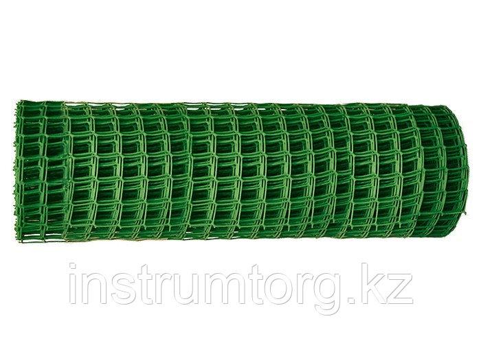 Решетка заборная в рулоне, 1х20 м, ячейка 15х15 мм, пластиковая, зеленая// Россия