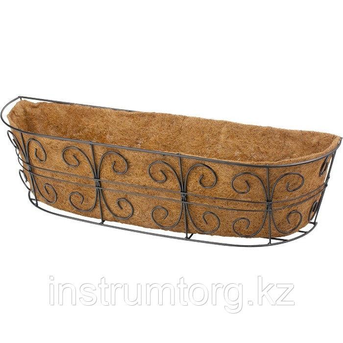 Кашпо пристенное с декором, с кокосовой корзиной, размер 74х20 см// Palisad