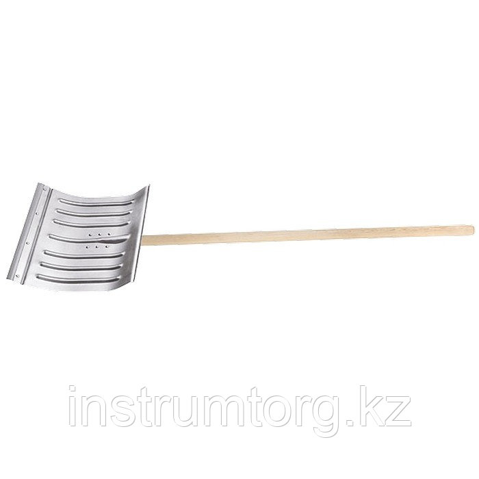 Лопата для уборки снега алюминиевая, 430х370х1350 мм, деревянный черенок, Россия// Сибртех