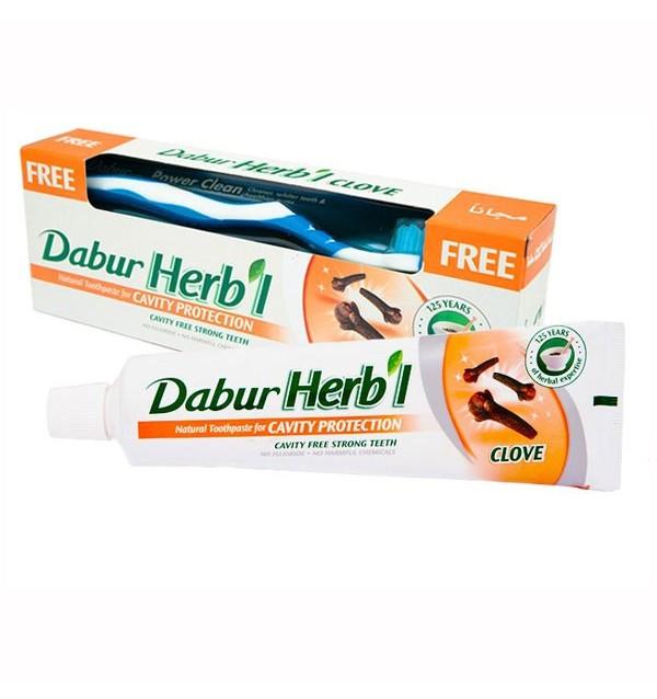 Зубная паста от кариеса Dabur Herbal Clove (гвоздика) + зубная щетка