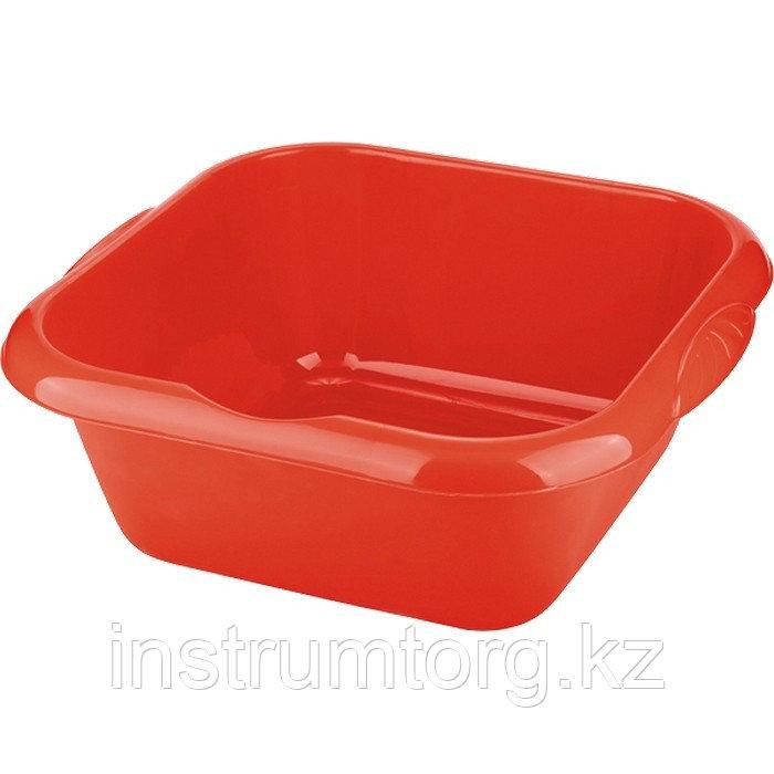 Таз пластмассовый квадратный 18л, красный //ТМ Elfe /Россия