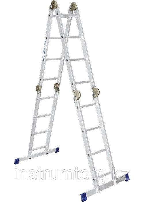 Лестница, 4 х 4 ступени, алюминиевая, шарнирная // АЛЮМЕТ