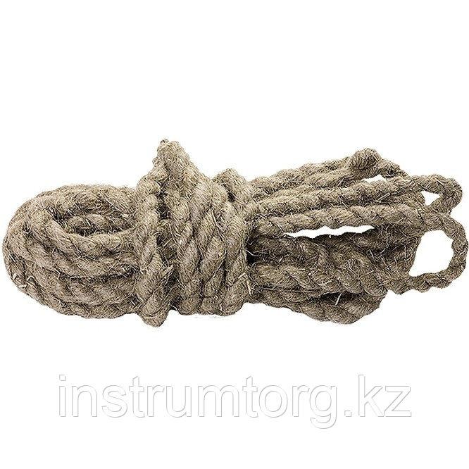 Веревка льнопеньковая, D 12 мм, L 10 м, крученая Россия// Сибртех