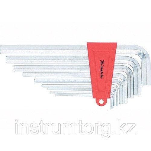 Набор ключей имбусовых HEX, 2–12 мм, CrV, 9 шт., удлиненные, сатин.// Matrix