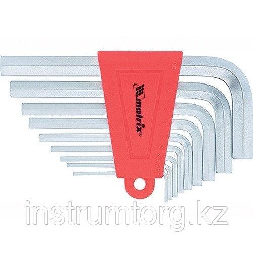 Набор ключей имбусовых HEX, 1,5–10 мм, CrV, 9 шт., короткие, сатин.// Matrix